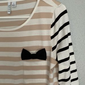 3/4 sleeve striped tee with bow detail